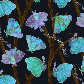 Forest Doodle Moths in blues, large