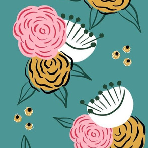 Pink and mustard florals - large scale