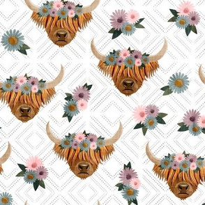 floral highland cattle - highlander cow -  white on diamonds  - LAD19