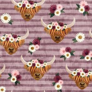 floral highland cattle - highlander cow -  mauve stripes - LAD19