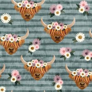 floral highland cattle - highlander cow -  dust blue stripes - LAD19