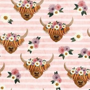 floral highland cattle - highlander cow -  pink stripes - LAD19