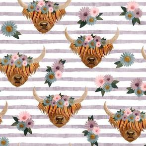 floral highland cattle - highlander cow -  light plum stripes  - LAD19