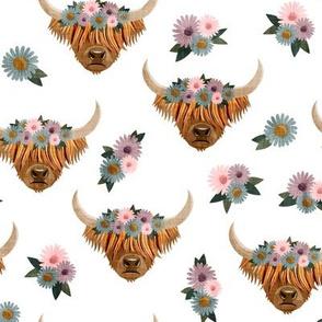 floral highland cattle - highlander cow -  white - LAD19