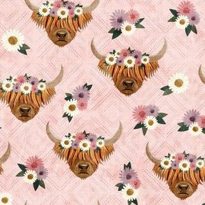 floral highland cattle - highlander cow -  pink on diamonds - LAD19
