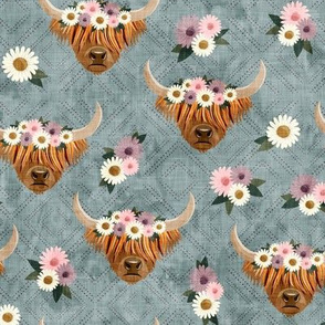 floral highland cattle - highlander cow -  dusty blue - LAD19