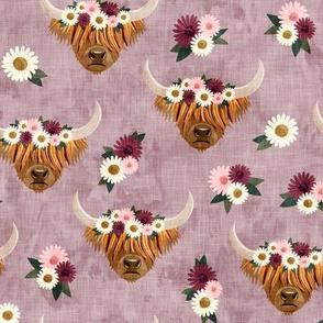 floral highland cattle - highlander cow -  mauve - LAD19