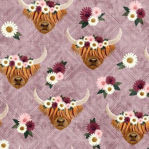 floral highland cattle - highlander cow -  mauve on diamonds - LAD19