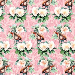 Little Red Cardinal Floral Pattern on Pink