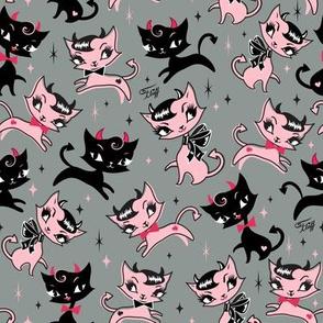 Small-Devilish Kitties on Grey