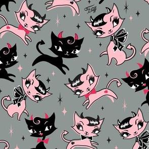 Medium-Devilish Kitties on Grey