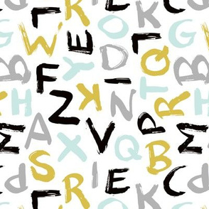 Raw monochrome brush strokes abc alphabet scandinavian abstract back to school black alphabet mint ochre