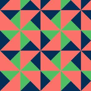 color block pinwheel dark blue