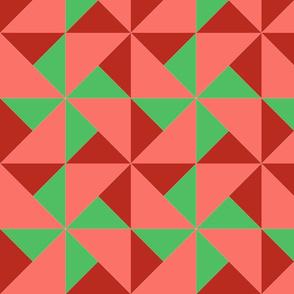 color block pinwheel dark coral