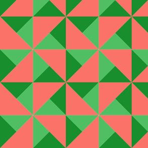 color block pinwheel dark green