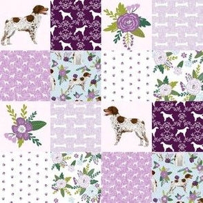 "TINY - 1.5"" squares brittany spaniel pet quilt c dog nursery cheater quilt wholecloth"