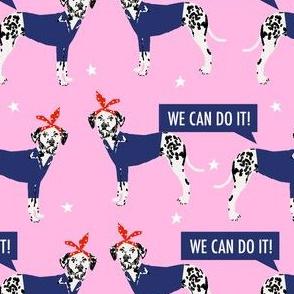 dalmatian dog rosie fabric - rosie dog fabric, dalmatian fabric -  pink