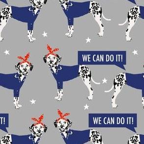 dalmatian dog rosie fabric - rosie dog fabric, dalmatian fabric -  grey