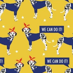 dalmatian dog rosie fabric - rosie dog fabric, dalmatian fabric - yellow
