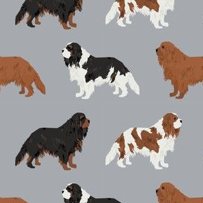 cavalier king charles spaniel cute dog pet dogs ruby black and tan, ruby dog fabric, blenheim dog fabric, - grey