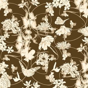 Butterflies & Wildflowers in Warm Neutral Tones