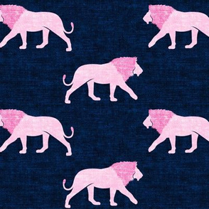 lions pink on navy - walking lions - LAD19
