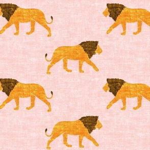 lions on pink - walking lions - LAD19