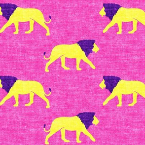 lions on hot pink - walking lions - LAD19