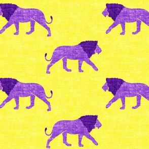lions on yellow - walking lions - LAD19