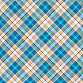Colonial Sky Blue and Peach Apple Plaid