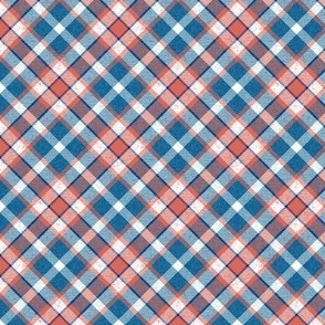 Colonial Blue and Terra Cotta Pink Apple Plaid