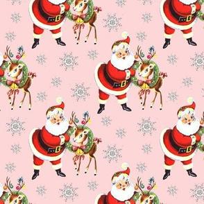 Santa reindeer pink Christmas vintage retro