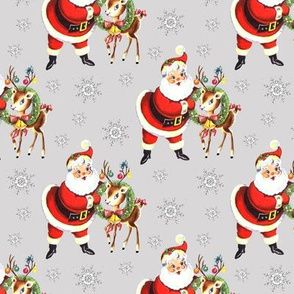 Santa reindeer gray Christmas vintage retro