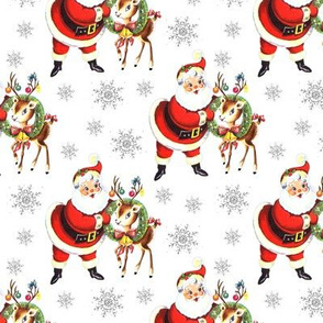 Santa Reindeer white Christmas vintage retro