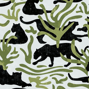 Abstract Wild Cats and Plants / Black and Green