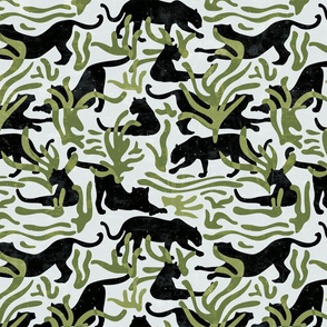 Abstract Wild Cats and Plants / Black and Green / Small-scale