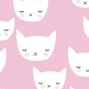 Sweet kitty kawaii cats smiling sleepy cat design in summer soft pink baby nursery girls