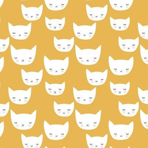 Sweet kitty kawaii cats smiling sleepy cat design in summer ochre yellow neutral nursery SMALL