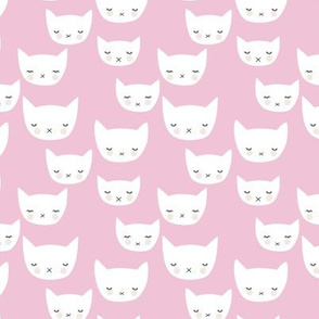 Sweet kitty kawaii cats smiling sleepy cat design in summer soft pink baby nursery girls small