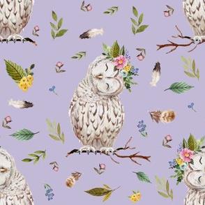 """8"""" Spring Breeze Owl Lavender Back"""
