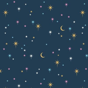 Mystic Universe stellar twinkle moon phase and stars sweet dreams night colorful pink mint yellow navy blue