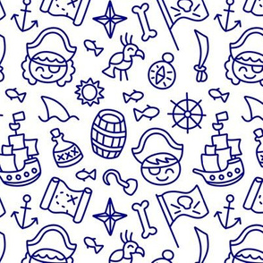 Pirate Doodles Navy on White