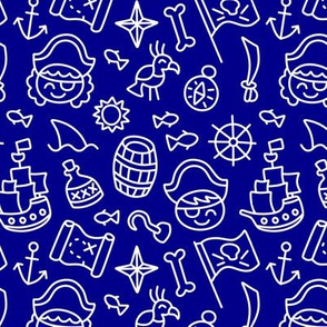 Pirate Doodles White on Navy