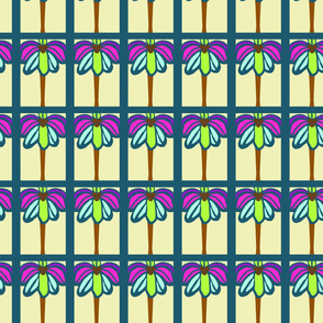 Abstract seamless colorful pattern with palm tree leaves