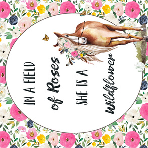 "42""x36""  Spring Boho Floral Horse Field of Roses Wildflower Quote"