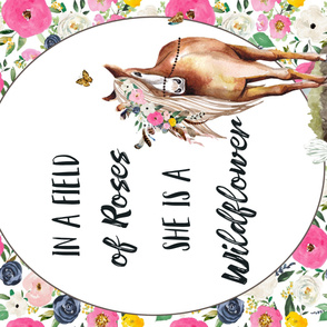 "54""x36"" Spring Boho Floral Horse Field of Roses Wildflower Quote"