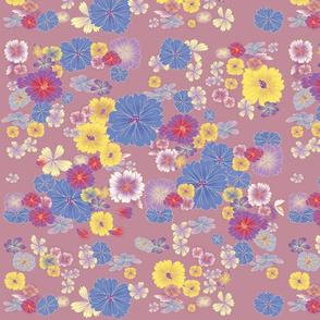 oriental flowers mauve
