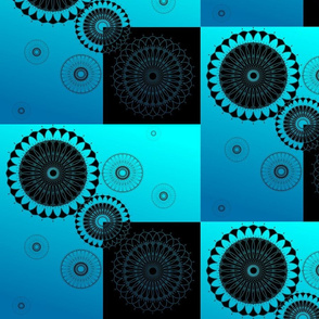 mandala su quadri blu