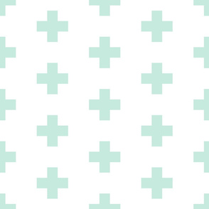 mint swiss crosses on white    large scale
