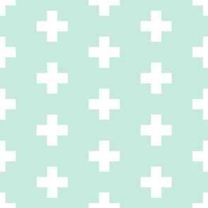 white crosses on mint   large scale